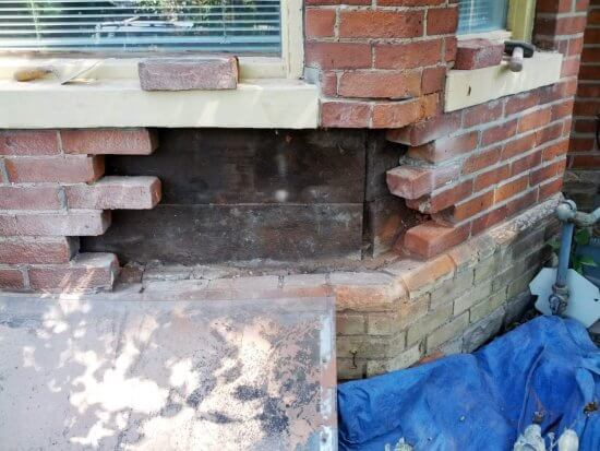 during a brick repair project